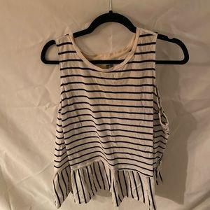 Old Navy black and white peplum top